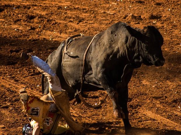 Vitor Lambert Rodrigues caiu feio na Arena de Barretos na tarde desta sexta-feira (26) (Foto: Mateus Rigola/G1)