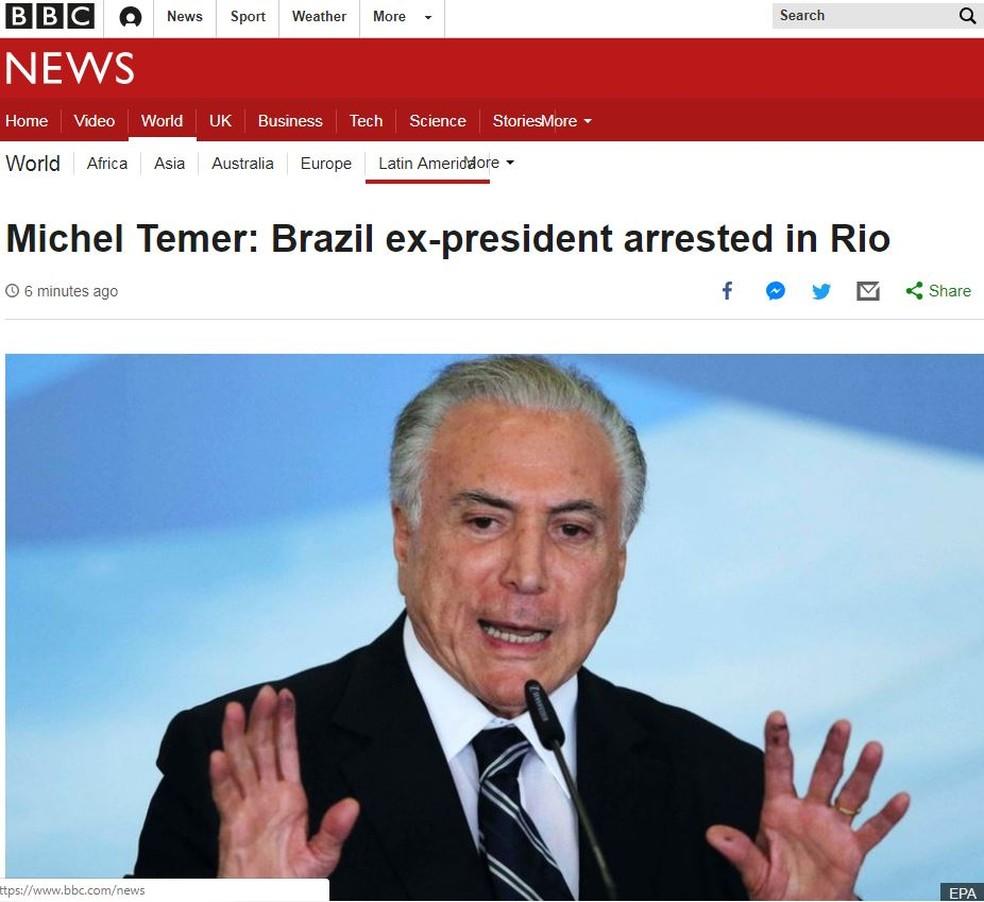 BBC registra a prisão de Michel Temer — Foto: Reprodução