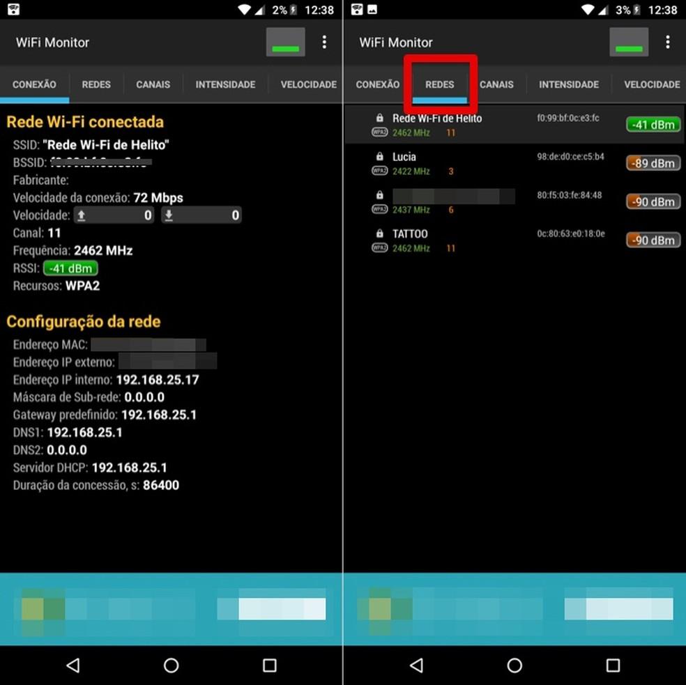 Cheeque informações sobre o seu Wi-Fi e intensidade das redes próximas pelo app WiFi Monitor — Foto: Reprodução/Helito Beggiora