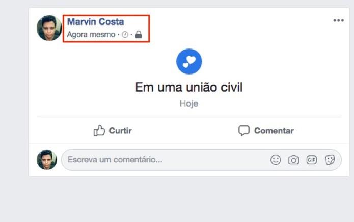 Status de relacionamento alterado em modo anônimo no Facebook (Foto: Reprodução/Marvin Costa)