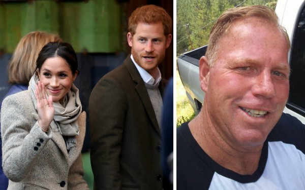 A atriz Meghan Markle, o Príncipe Harry e Thomas Markle Jr., irmão da celebridade (Foto: Getty Images/Facebook)