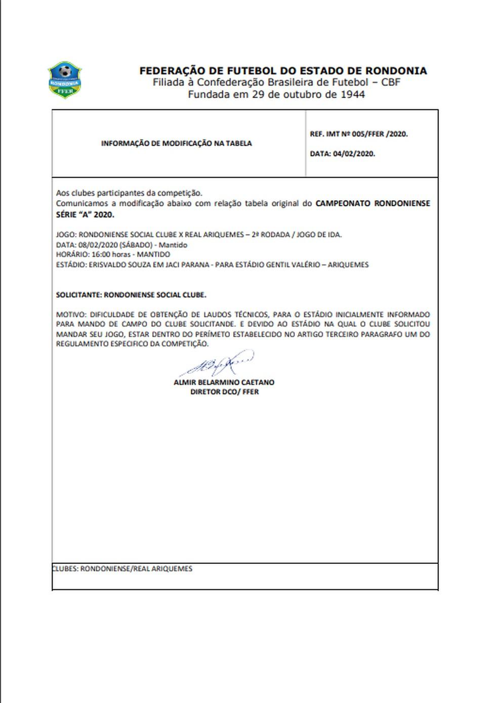 IMT informado a mudança no jogo do Rondoniense e Real Ariquemes no Campeonato Rondoniense 2020 — Foto: FFER