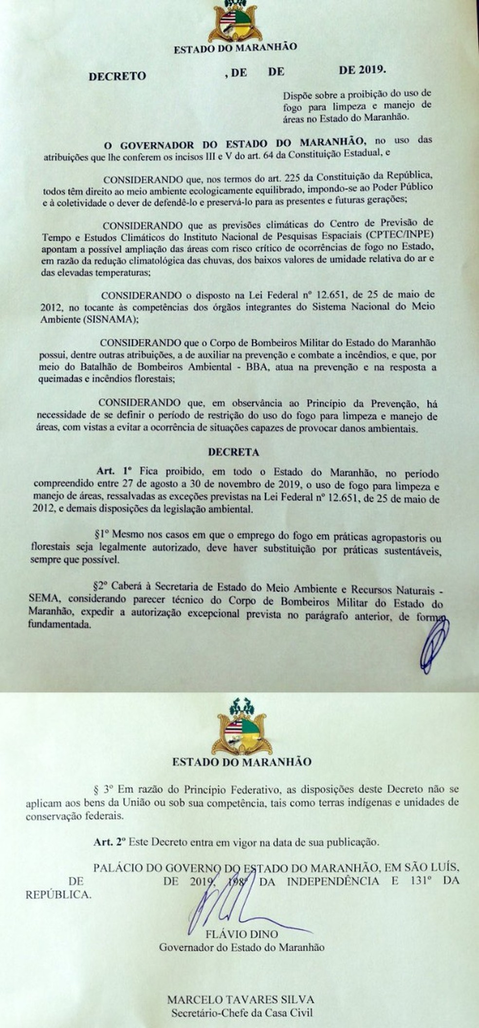 Decreto do governo do Maranhão proíbe o uso de fogo para a limpeza e manejo de áreas em todo o estado. — Foto: Reprodução/Redes Sociais