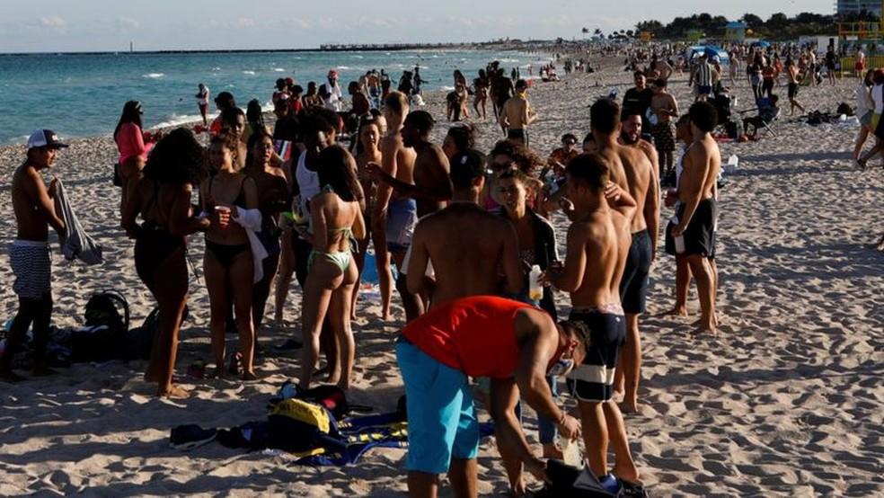 Miami Beach é um dos destinos mais populares durante o 'spring break' — Foto: Reuters
