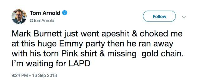 A acusação inicial feita por Tom Arnold de que teria sido agredido (Foto: Instagram)