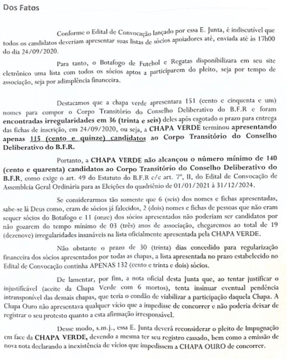 Pedido de reconsideração da Chapa de Alessandro Leite para a Junta Eleitoral — Foto: Reprodução