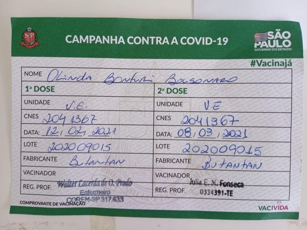 Cartão de vacinação de Olinda Bunturi Bolsonaro — Foto: Dione Aguiar/G1