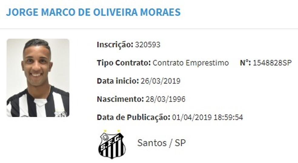 Jorge aparece no BID e pode estrear pelo Santos na quinta-feira — Foto: Reprodução