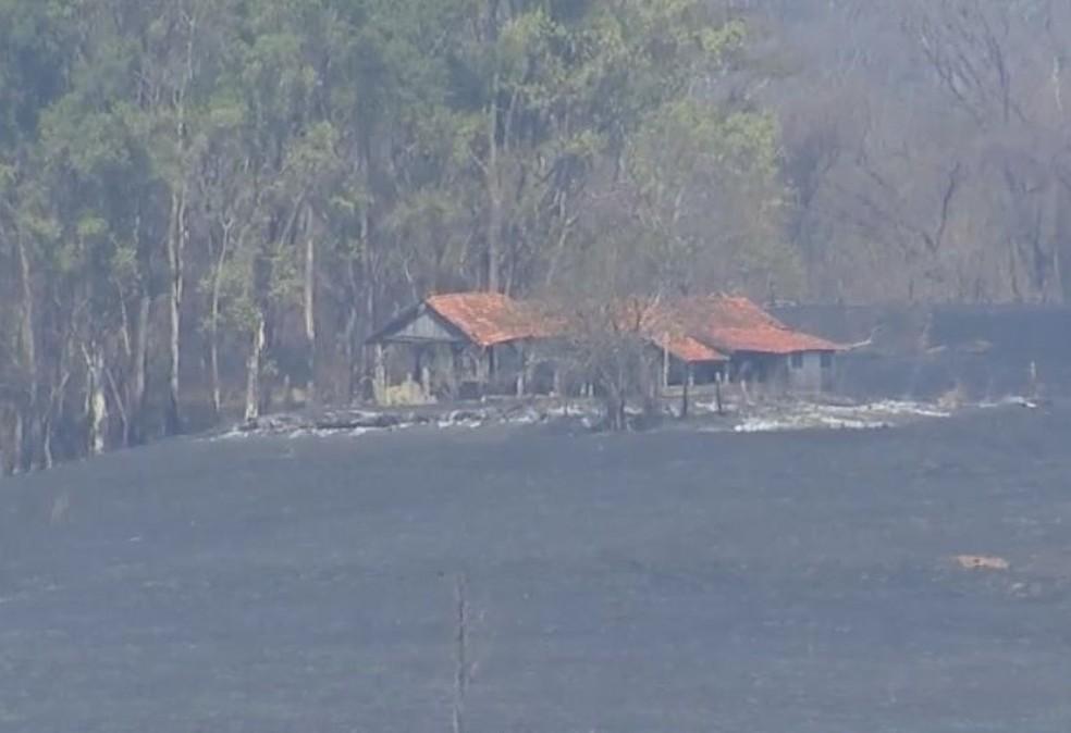 Fogo chegou perto das casas em Oriente  — Foto: TV TEM/ Reprodução