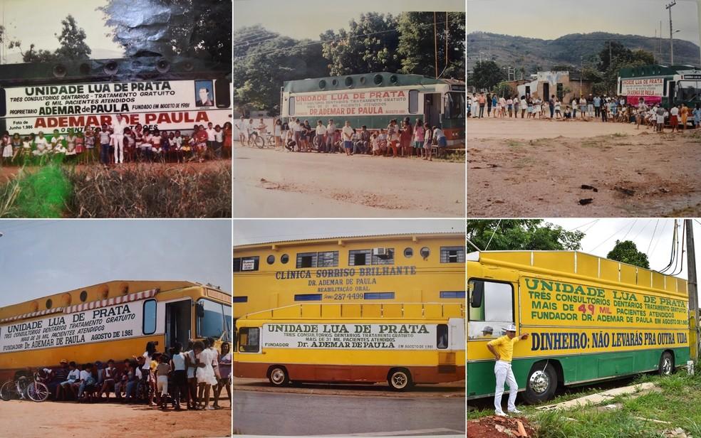 Fotos mostram evolução no número de atendimentos em consultório montado em ônibus, em Aparecida de Goiânia (Foto: Arquivo Pessoal/Ademar de Paula)