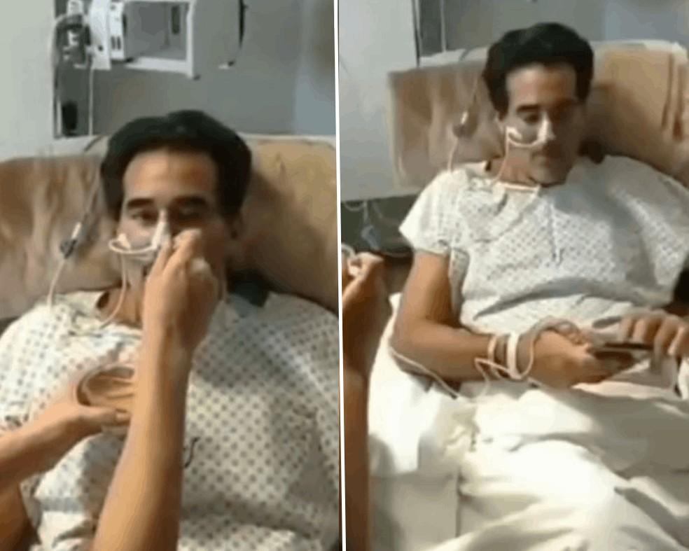 Luciano Szafir no hospital: suporte de oxigênio e ajuda para se alimentar — Foto: Reprodução/Redes sociais