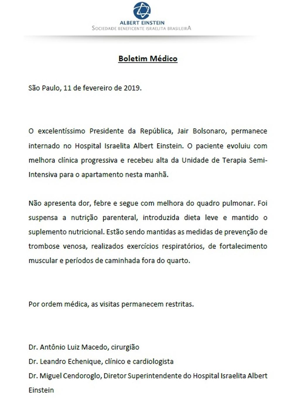 Boletim médico sobre o estado de saúde de Jair Bolsonaro nesta segunda-feira (11) — Foto: Reprodução