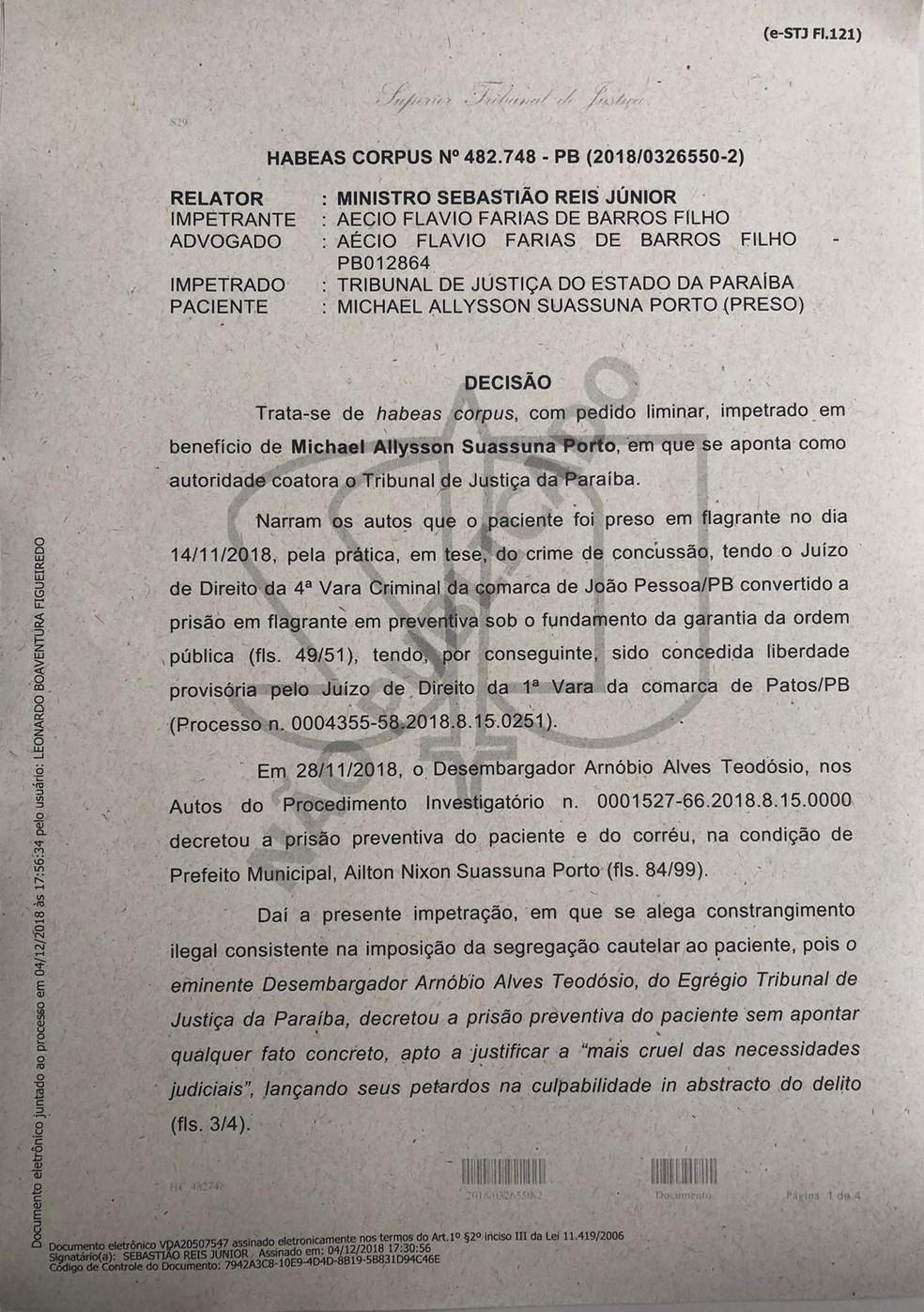 STJ concede habeas corpus a prefeito e secretário de Tavares, na PB — Foto: Aécio Farias/Divulgação