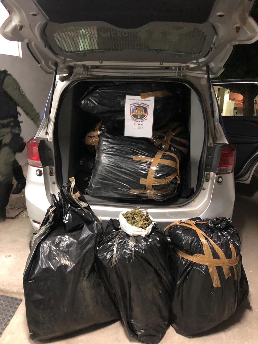 Maconha apreendida em nove sacos em cabobó — Foto: Reprodução/ 2º CIPM