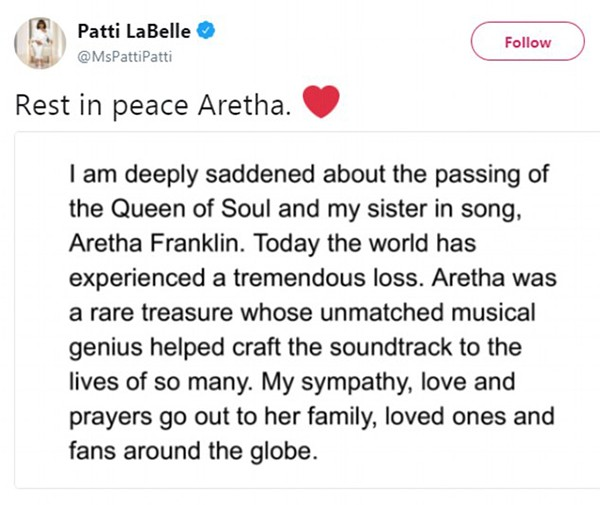 Homenagem de Patti LaBelle a Aretha Franklin (Foto: Twitter)