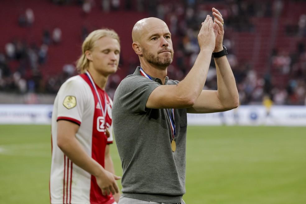 Erik Ten Hag foi uma das sensações da temporada, com destaque no Ajax — Foto: Getty Images