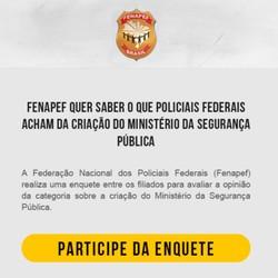 Enquete da Fenapef sobre recriar Ministério da Segurança Pública