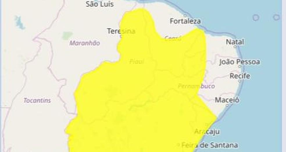 Inmet emite alerta de chuvas intensas para 80 cidades da Paraíba — Foto: Reprodução/Inmet