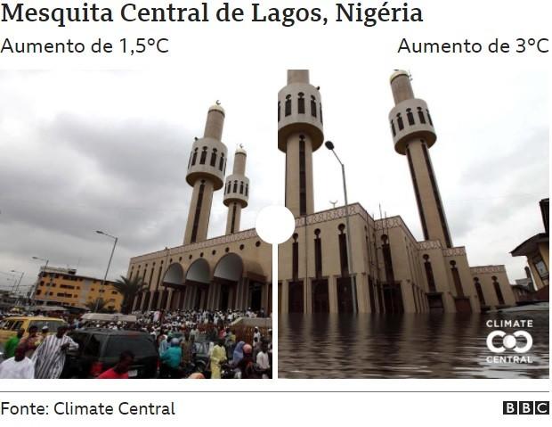 Mesquita Central de Lagos (Foto: CLIMATE CENTRAL via BBC)