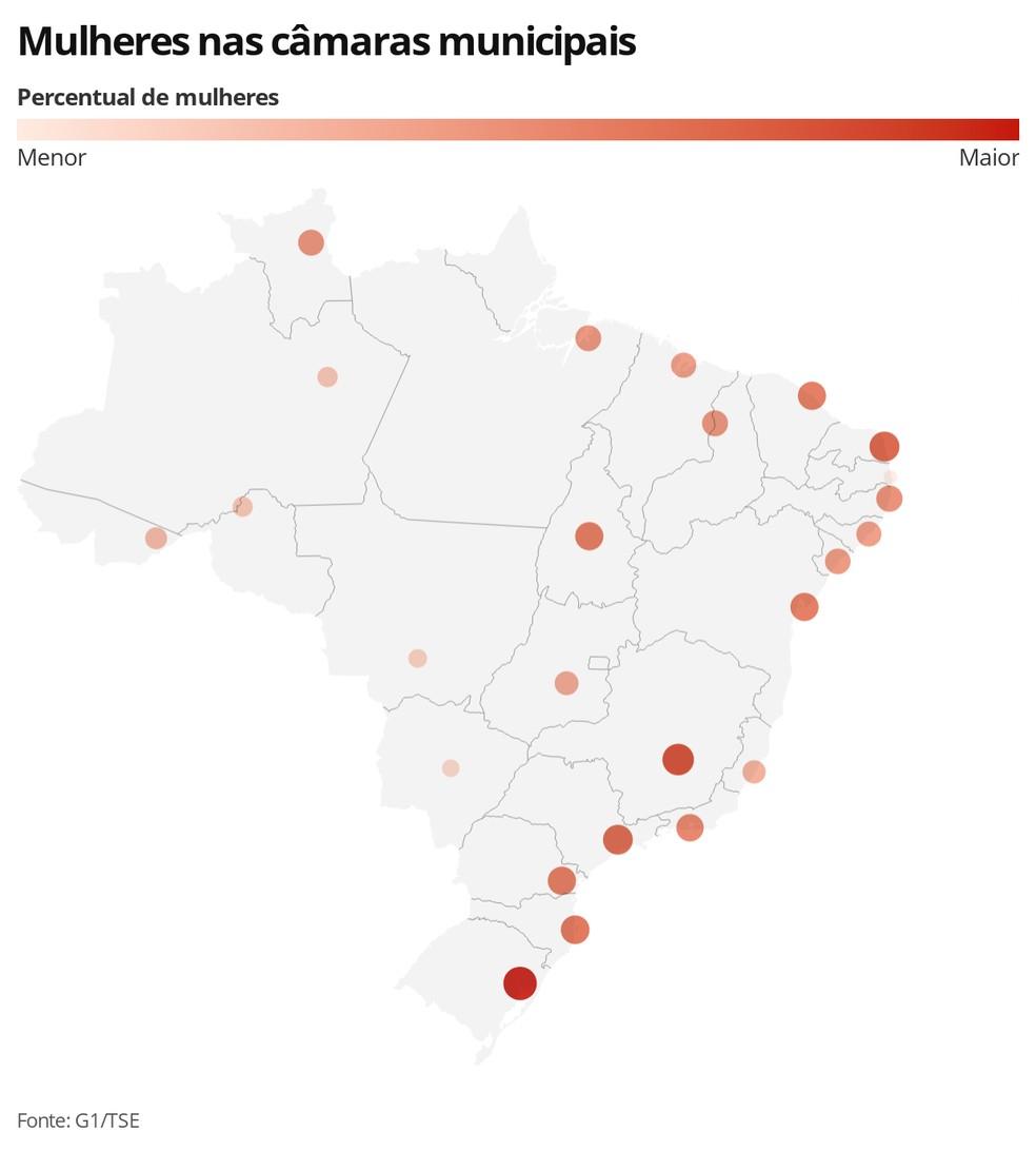 Mapa das mulheres nas Câmaras Municipais — Foto: Guilherme Luiz Pinheiro/G1