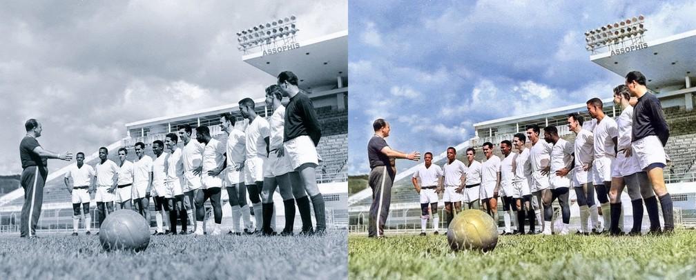 Aqui uma foto do time reunido para um treino na Vila Belmiro, sob o comando do técnico Lula. Coutinho é o quinto, da esquerda para a direita — Foto: Reprodução