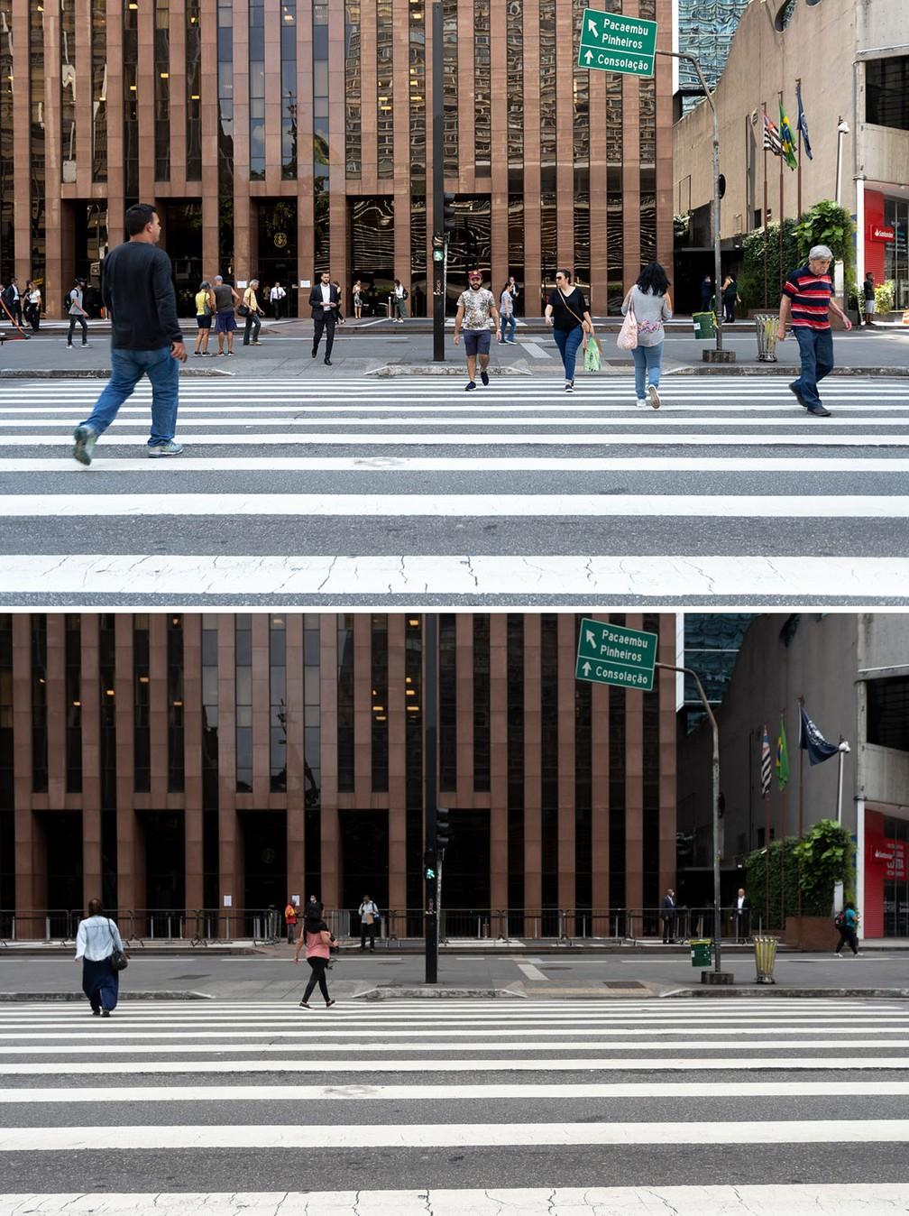 A Avenida Paulista é vista com maior movimento na segunda-feira (16) e menor movimento nesta sexta (20), após o impacto das medidas de prevenção contra o coronavírus — Foto: Marcelo Brandt/G1