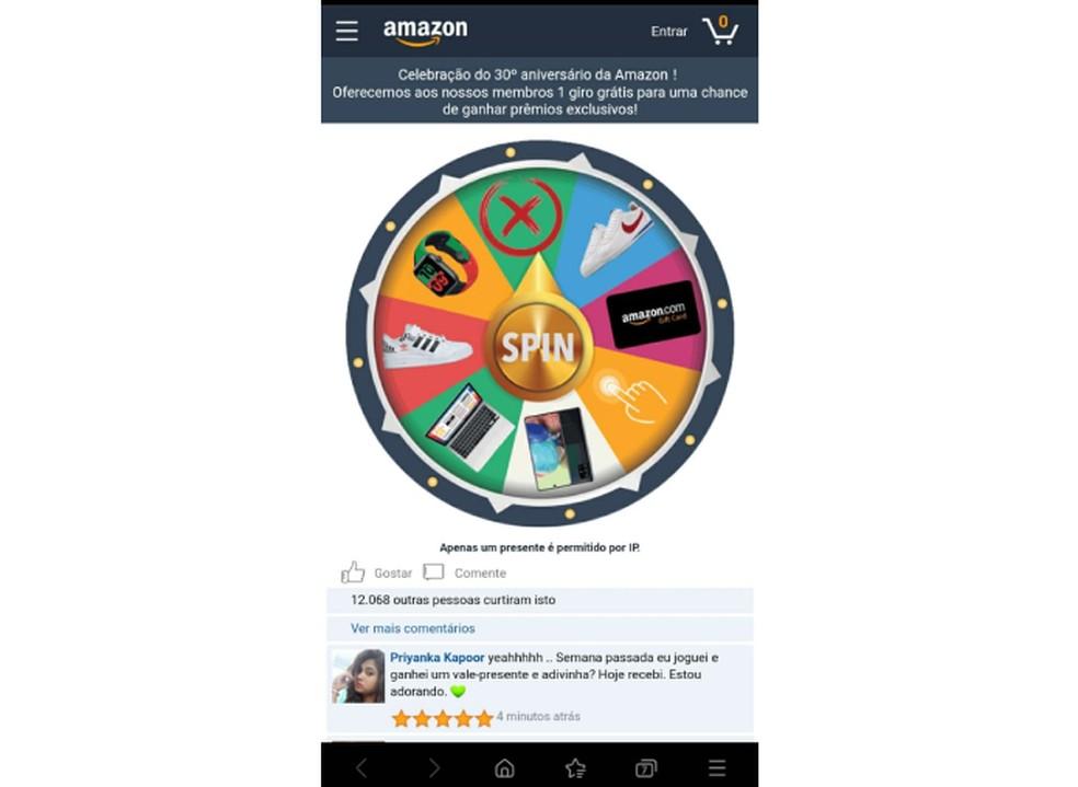 Página falsa da Amazon oferece brindes no suposto 30º aniversário da marca — Foto: Reprodução/TechTudo