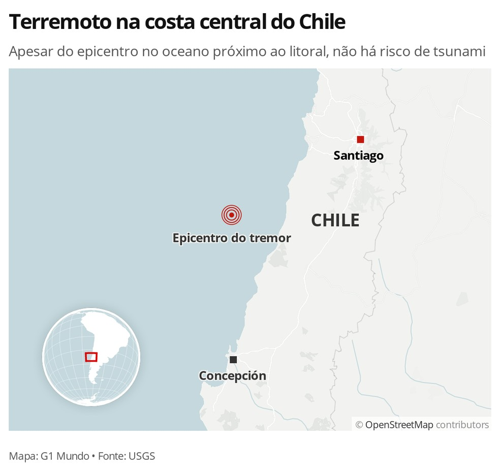 MAPA - Tremor no Chile — Foto: G1 Mundo