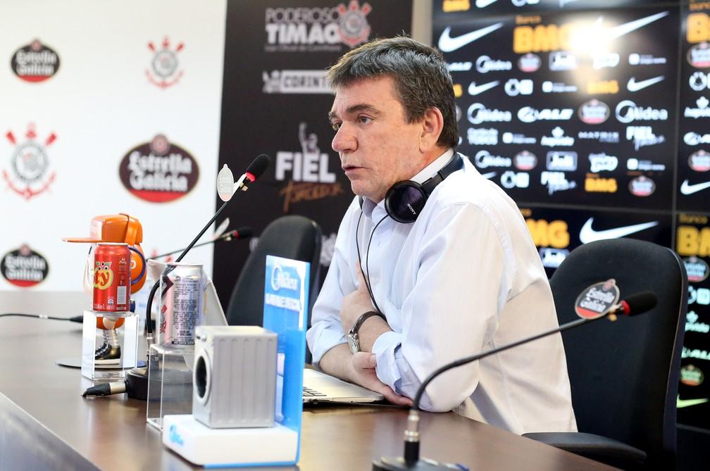 Andrés Sanchez em entrevista coletiva — Foto: Rodrigo Coca/ Ag. Corinthians
