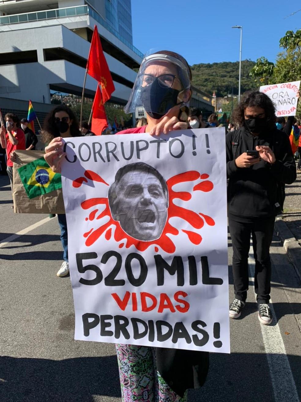 [Florianópolis, 10h39] Manifestantes carregam faixas e cartazes contra o governo Bolsonaro — Foto: Castro/NSC TV