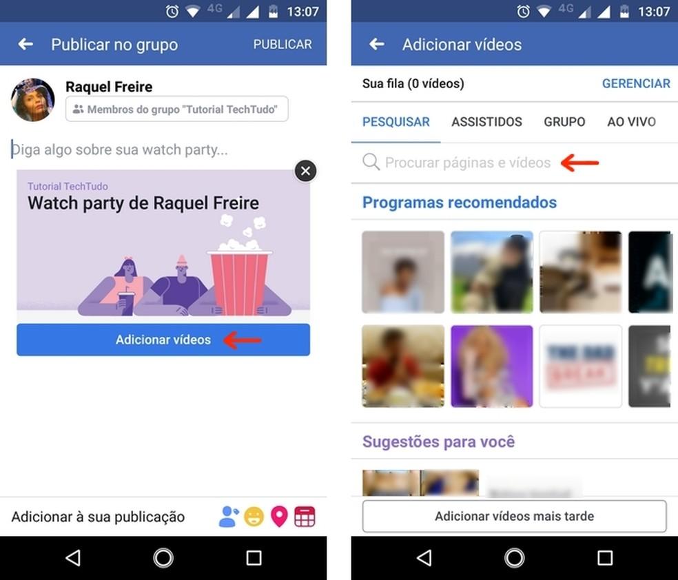 Pesquisa de vídeos para adicionar à Watch Party a partir do aplicativo do Facebook — Foto: Reprodução/Raquel Freire