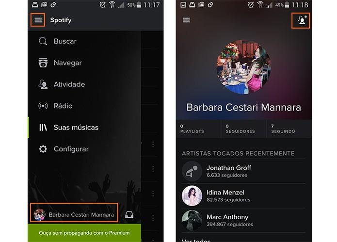 Acesse seu perfil do Spotify (Foto: Reprodução/Barbara Mannara)