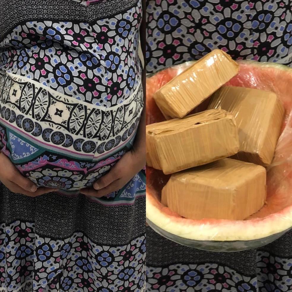 Falsa grávida é presa com drogas escondidas em melancia presa na barriga em Guaratinguetá — Foto: Divulgação