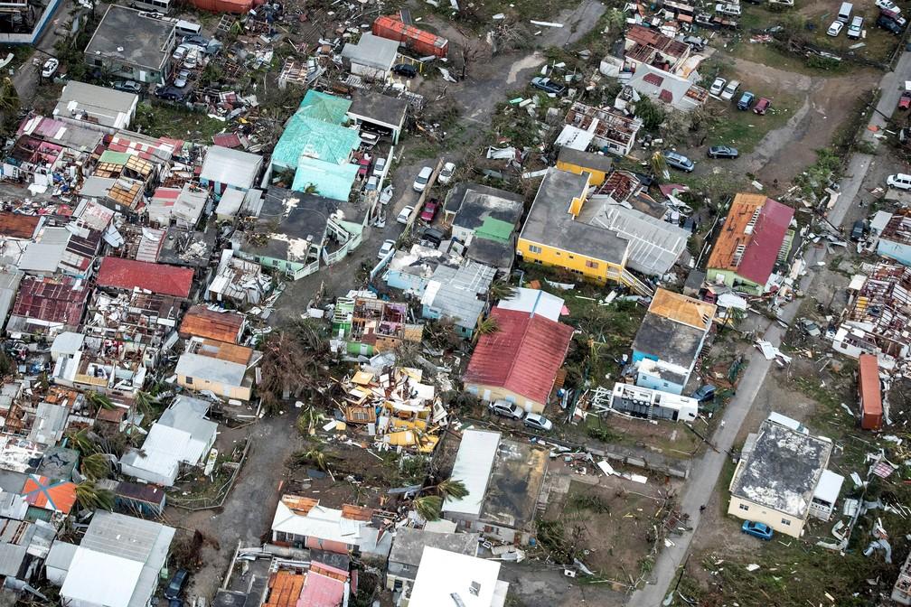 Destruição vista de cima na Ilha de Saint Martin, no Caribe, após passagem do Irma (Foto: Netherlands Ministry of Defence/Handout via REUTERS )