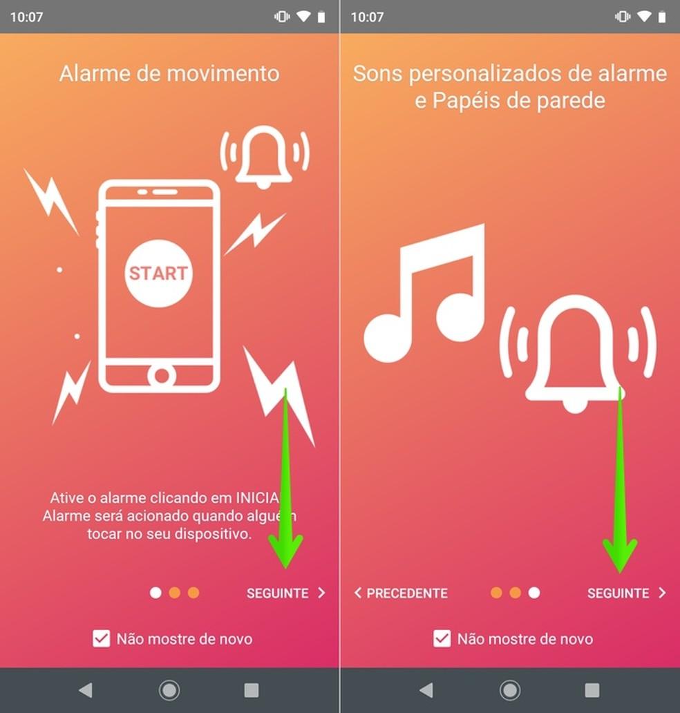 Telas de introdução do aplicativo Não toque em meu telefone — Foto: Reprodução/Helito Beggiora