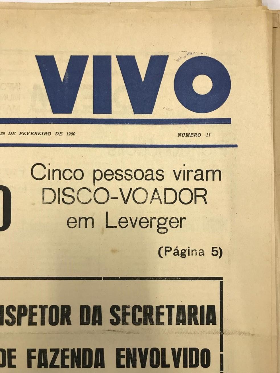 Grupo que avistou disco voador também foi notícia — Foto: Arquivo Público/Reprodução