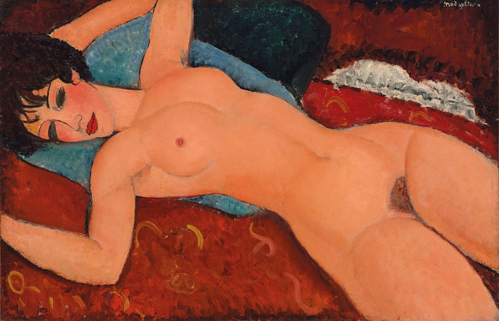 A tela 'Nu couché', de Amedeo Modigliani, considerada uma das obras maiores do mestre (Foto: Courtesy of Christie's Images via AP)