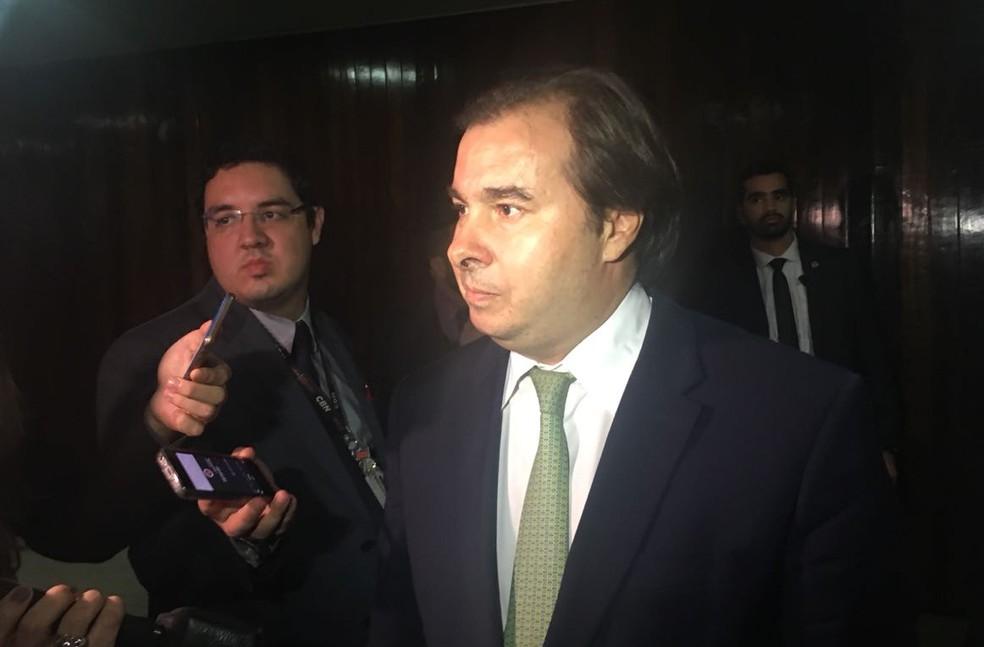 O presidente da Câmara, Rodrigo Maia, após a votação do projeto que reonera a folha de pagamento de empresas (Foto: Alessandra Modzeleski / G1)