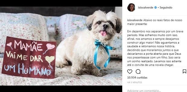 Post de isis Valverde (Foto: Reprodução/Instagram)