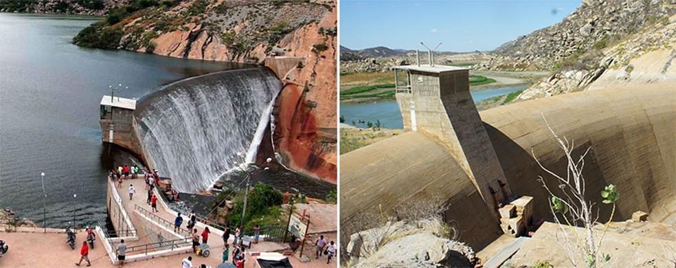 À esquerda, o Gargalheiras em 2011, quando ainda ocorria a sangria, a cascata artificial; à direita, nos dias atuais, sob a seca (Foto: Canindé Soares e Anderson Barbosa/G1)