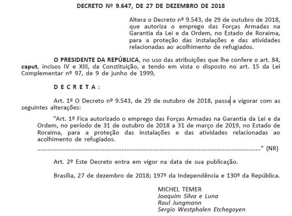 Decreto GLO foi publicado no DOU nesta sexta (28) — Foto: Reprodução/DOU