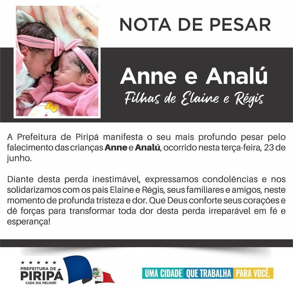 Recém-nascidas gêmeas morrem após serem atacadas por cachorro no sudoeste da Bahia — Foto: Divulgação/Prefeitura de Piripá