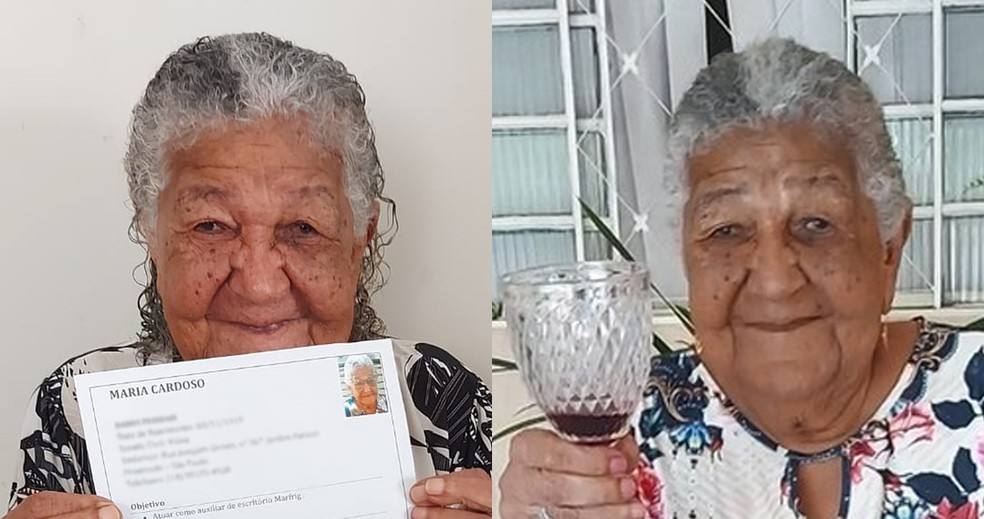 VALE ESTE dona maria idosa 101 anos curriculo vinhos — Foto: Montagem/G1