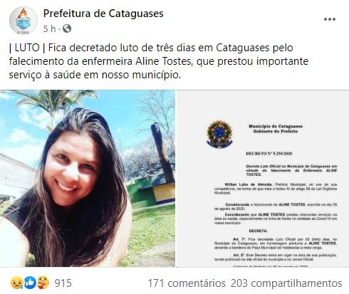 Cataguases registra primeira morte de profissional da saúde por Covid-19