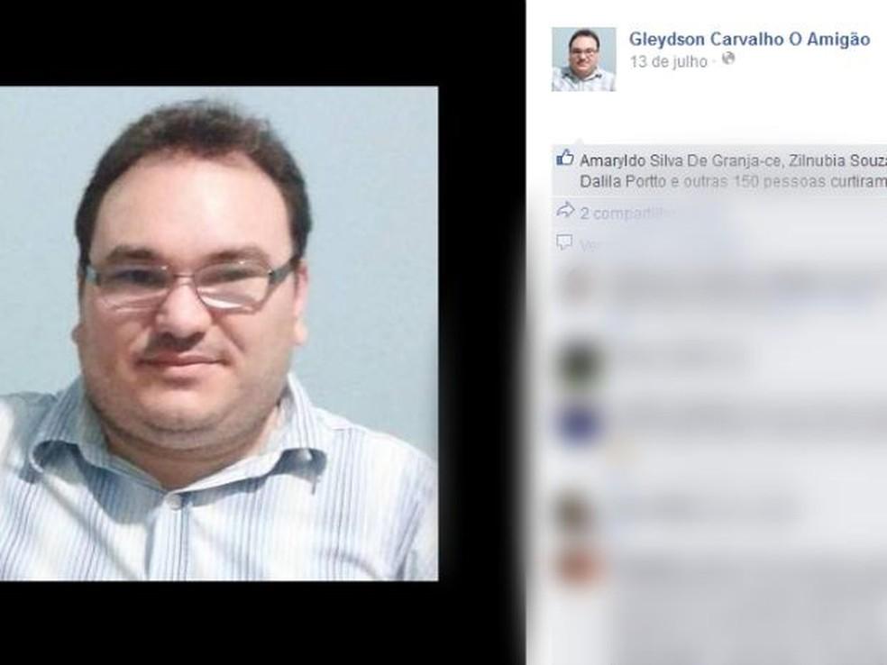 Radialista Gleydson Carvalho foi morto dentro do estúdio  — Foto: (Foto: Reprodução/ Facebook)