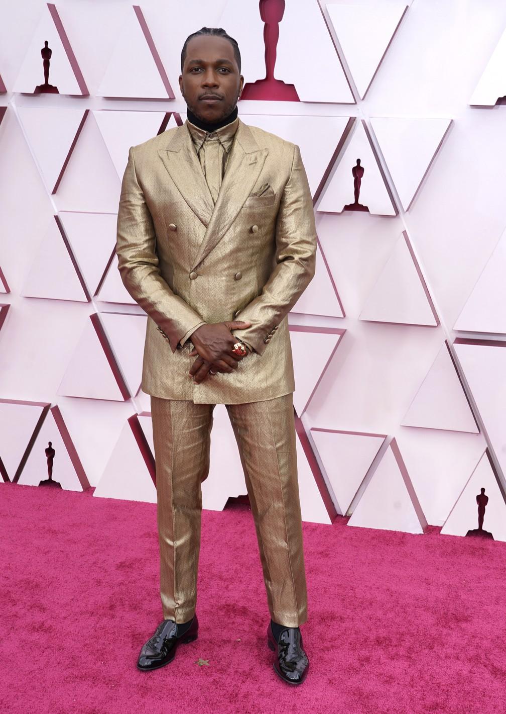 Leslie Odom Jr., indicado pelo filme 'Uma Noite em Miami', chega ao Oscar 2021 — Foto: AP Photo/Chris Pizzello