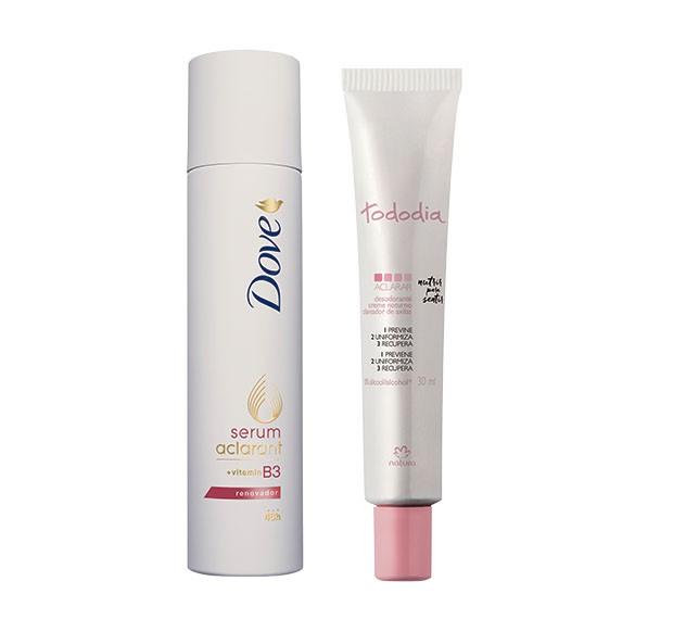 Beauty News - Serum Aclarant (a partir de R$ 13), da Dove. O desodorante Todo Dia Aclarar (R$ 17), da Natura (Foto: Divulgação)