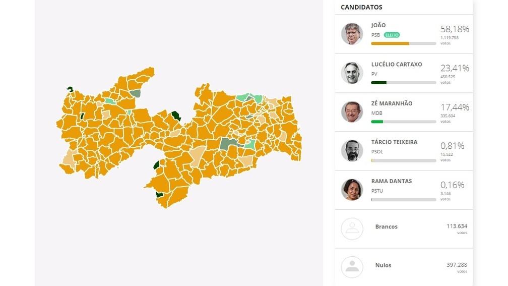 Mapa com o desempenho de cada candidato no primeiro turno das Eleições 2018 na Paraíba — Foto: Arte: G1