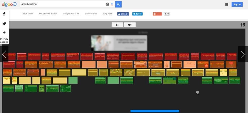 """Jogue o game """"Breakout"""", da Atari, no Google — Foto: Reprodução/Google"""