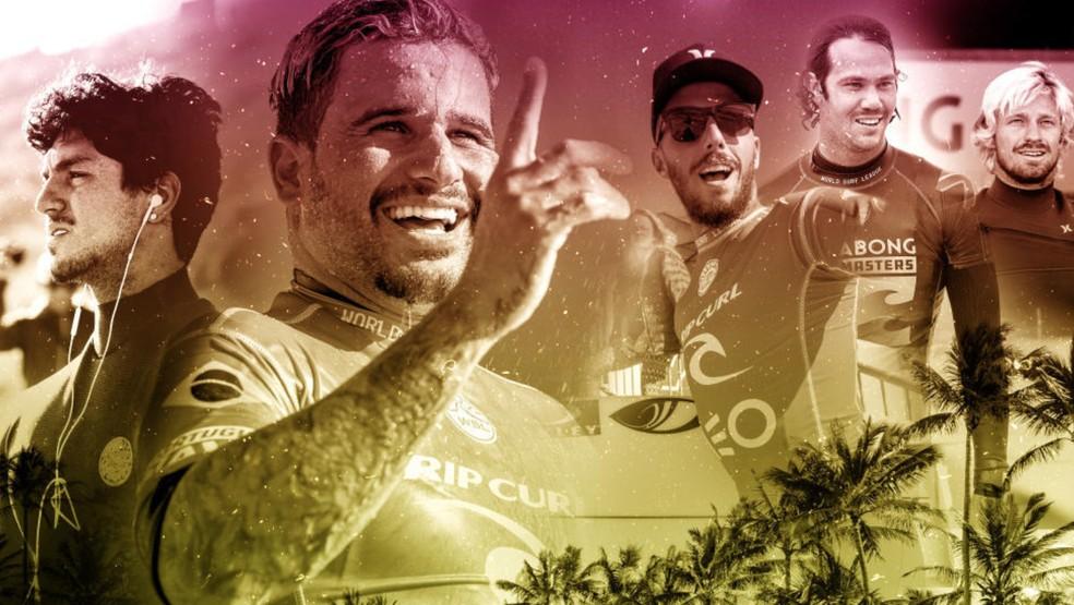 Ítalo, Medina e Filipe disputam o título mundial com Jordy e Kolohe em Pipelina — Foto: Arte WSL